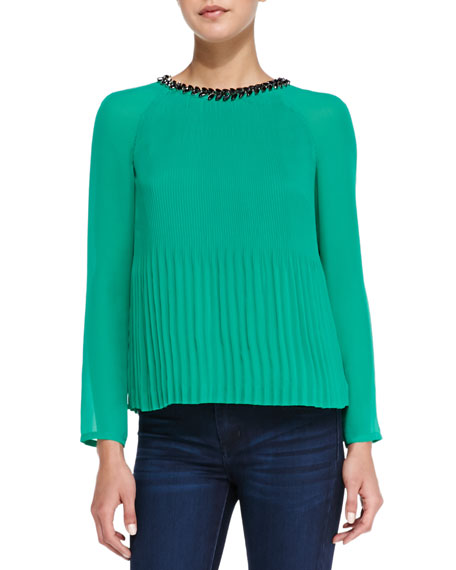 Lovina Bejeweled Accordion Pleated Top, Green