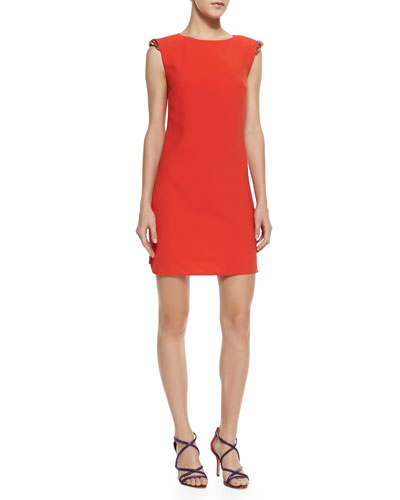 Ted Baker London Reevah Crystal-Embellished-Shoulder Dress, Tangerine