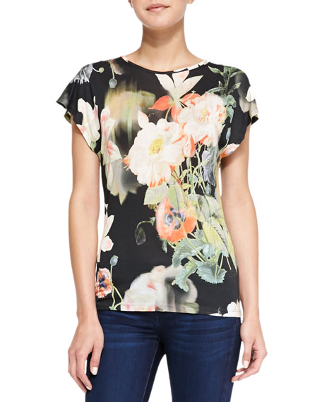Opulent Bloom Floral Print Tee