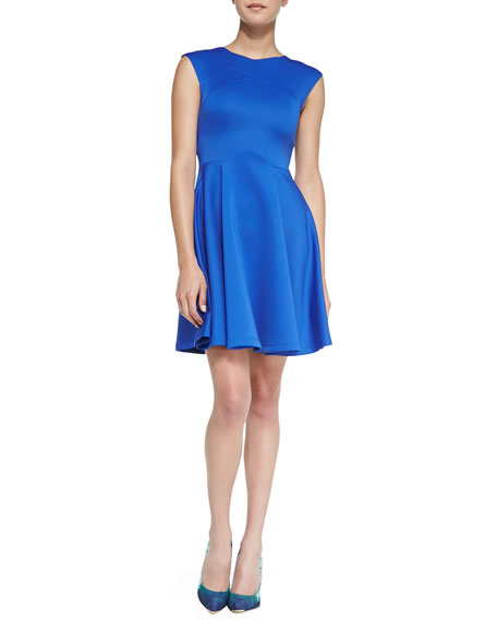 Crossover Seam Skater Dress, Bright Blue