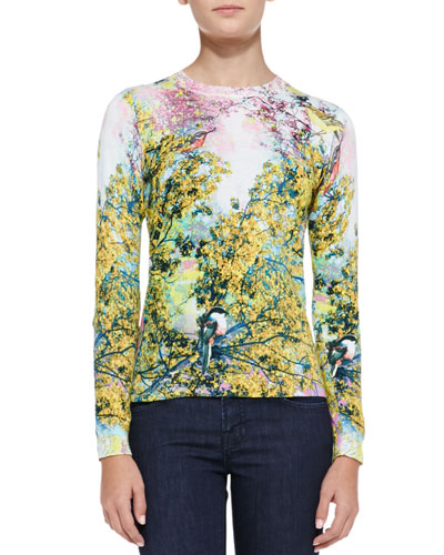 Ted Baker London Damila Pretty Trees Print Sweater, Dusky Pink