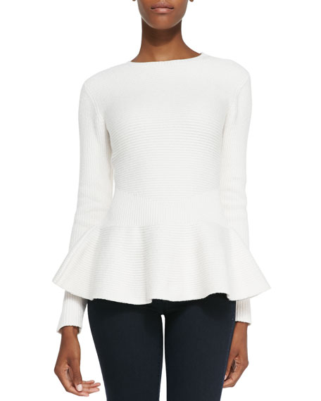 Edenia Ottoman Knit Peplum Sweater, Natural
