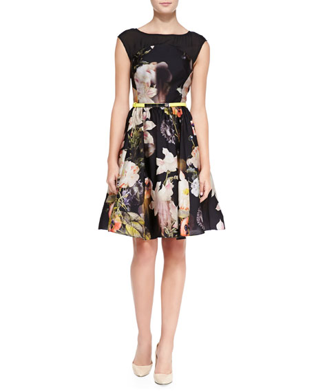 Opulent Bloom-Print Fit-and-Flare Dress, Black