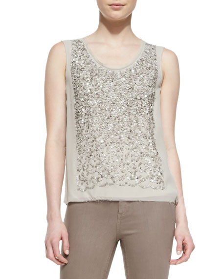 Faben Sleeveless Sequined-Front Blouse