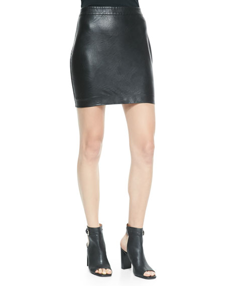 Faux-Leather Mini Skirt, Black
