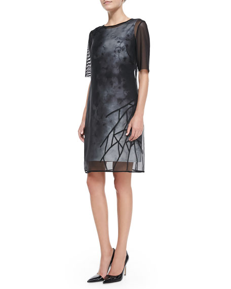 Kathleen Sheer-Layer Floral Dress