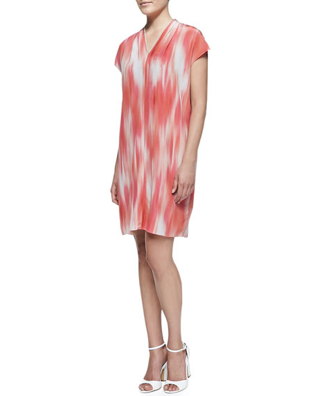 Elie Tahari Dallas Short-Sleeve Printed Shift Dress