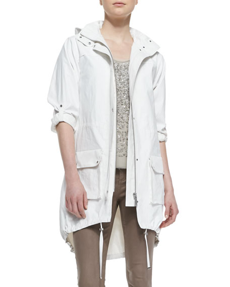 Molly Tab-Sleeve Coated Linen Parka