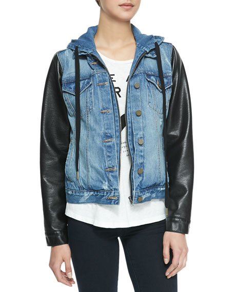 Hooded Faux-Leather & Distressed Denim Jacket, Blue/Black