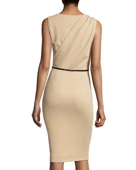 Twist-Shoulder Ponte Sheath, Sand Dune