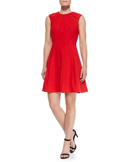 Isabel Gathered-Bodice Flare Dress