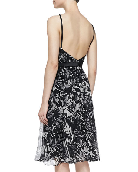 Botanical Crinkled Silk Dress