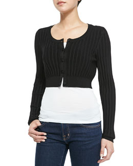 Jason Wu Ribbed Cropped Cardigan, Black