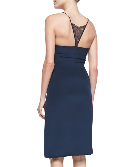 Lace-Insert Spaghetti Strap Dress, Navy