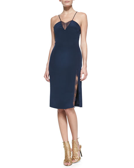 Lace-Insert Spaghetti Strap Dress, Navy
