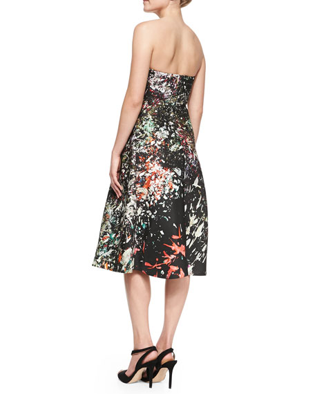 Strapless Drape-Front Dress, Multicolor