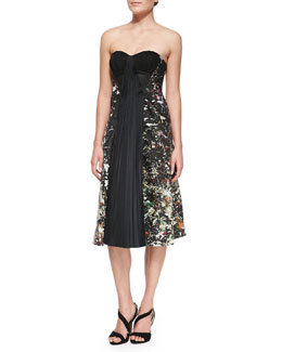 J. Mendel Strapless Drape-Front Dress, Multicolor