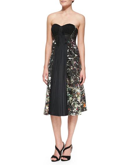 Strapless Drape-Front Dress, Multicolor