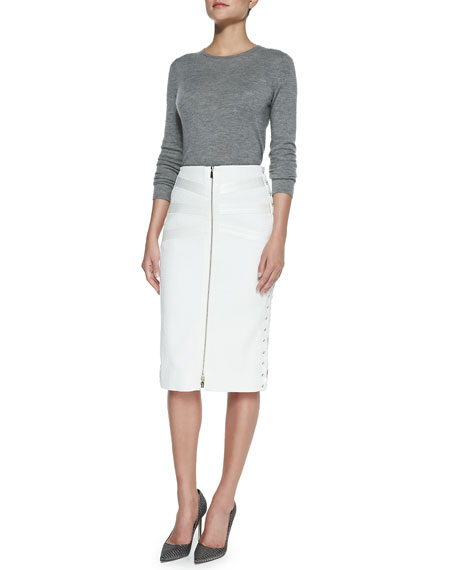 Tweed & Satin Lace-Up Skirt, Ivory