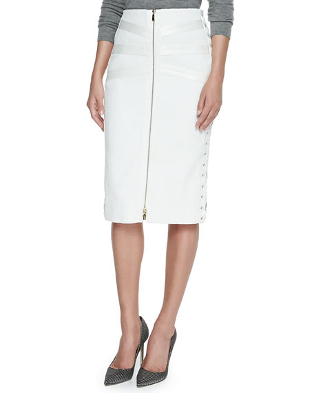 Jason Wu Tweed & Satin Lace-Up Skirt, Ivory