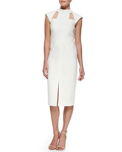 J. Mendel Cutout Cap-Sleeve Dress, Snow