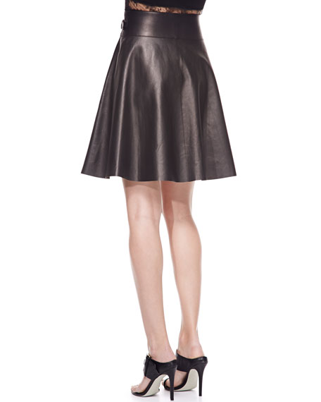 Buckled Lambskin Leather Skirt, Black