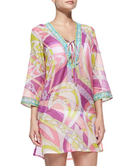 Emilio Pucci Lace-Up-Front Voile Coverup
