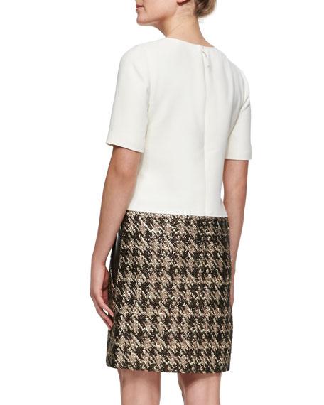 Short-Sleeve Dress with Metallic Skirt