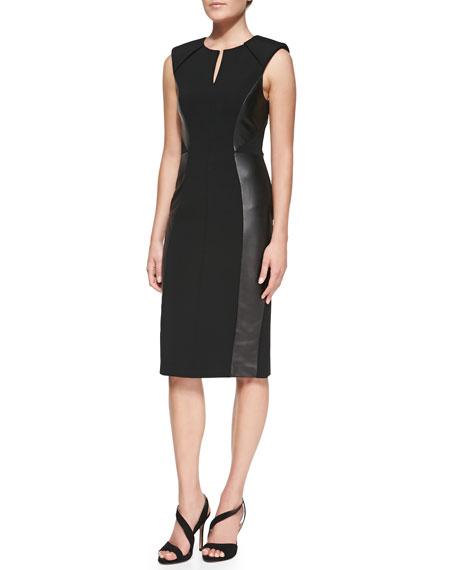 Leather-Paneled Sheath Dress