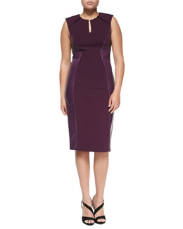 J. Mendel Leather-Paneled Sheath Dress, Plum