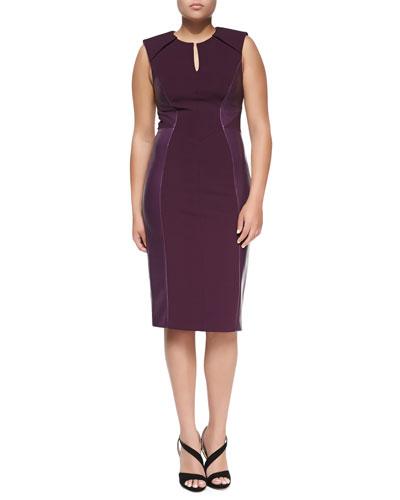 J. Mendel Leather-Paneled Sheath Dress, Plum