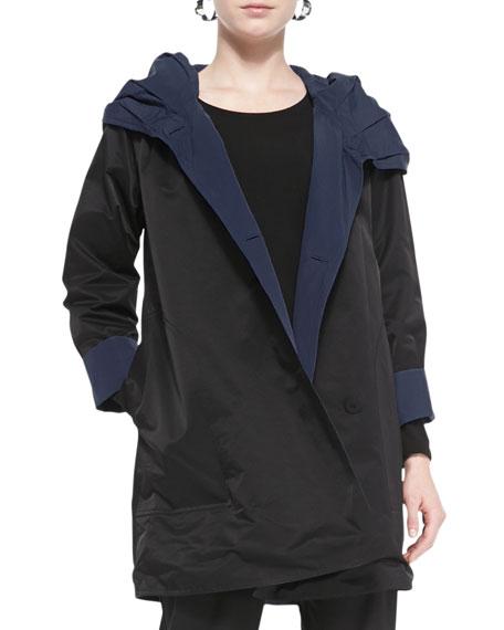 Reversible Hooded Rain Coat, Black/Midnight