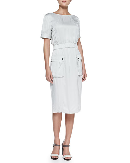 Jason Wu Short-Sleeve Satin Cargo Dress