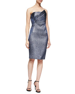 J. Mendel Strapless Dress with Asymmetric Pleated Bodice, Eclipse