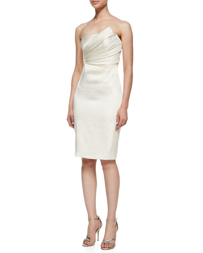 J. Mendel Strapless Dress with Asymmetric Pleated Bodice, Pearl
