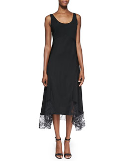 Jason Wu Sleeveless Tank Dress with Lace Hem