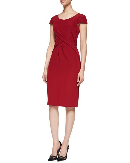 Cap-Sleeve Crisscross Drape Sheath Dress