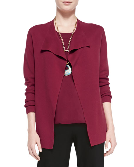 Eileen Fisher Silk-Cotton Interlock Jacket, Red, Petite