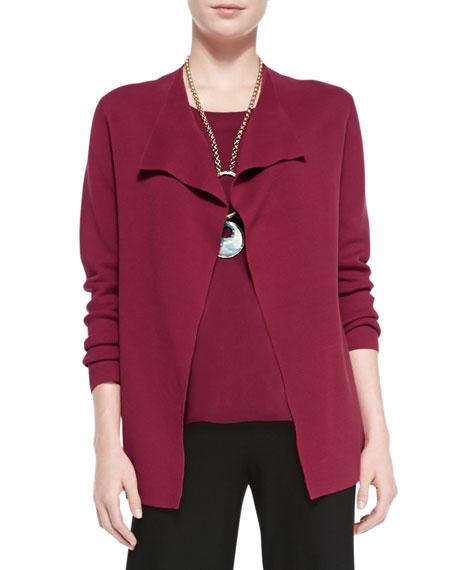 Eileen Fisher Silk-Cotton Interlock Jacket, Red, Petite