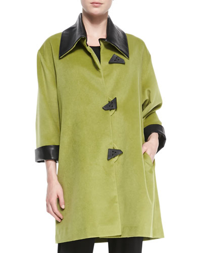 Soft Coating Easy Coat with Faux-Leather Trim, Women's