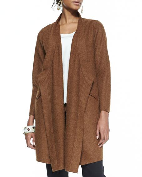 Cascading Leather-Trim Alpaca Jacket, Petite