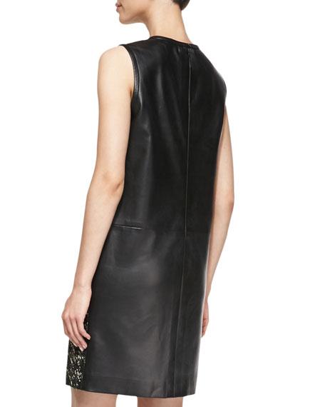 Sleeveless Houndstooth & Leather Dress