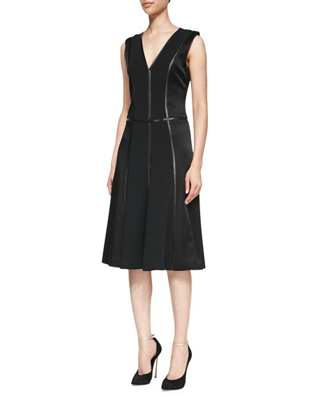 Sleeveless V-Neck Dress with Leather Trim