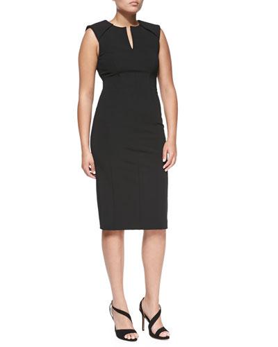 J. Mendel Sleeveless Caftan-Neck Sheath Dress, Black