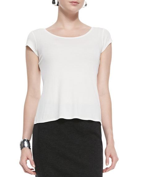Eileen Fisher Silk-Jersey Cap-Sleeve Tee, Soft White