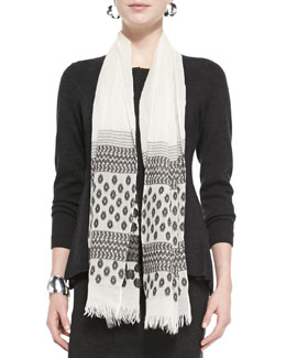 Eileen Fisher Hand-Loomed Jamdani Scarf, Charcoal