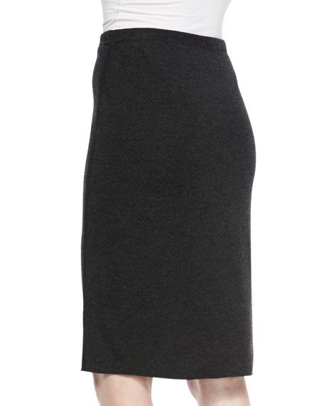 Knee-Length Merino Wool Skirt, Petite