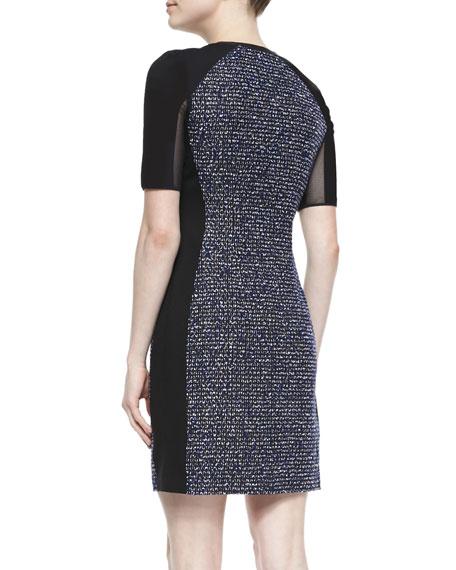 Mila Tweed Zip-Front Dress with Mesh Sleeves