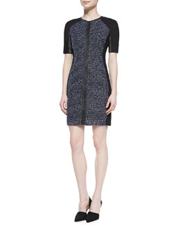 Elie Tahari Mila Tweed Zip-Front Dress with Mesh Sleeves