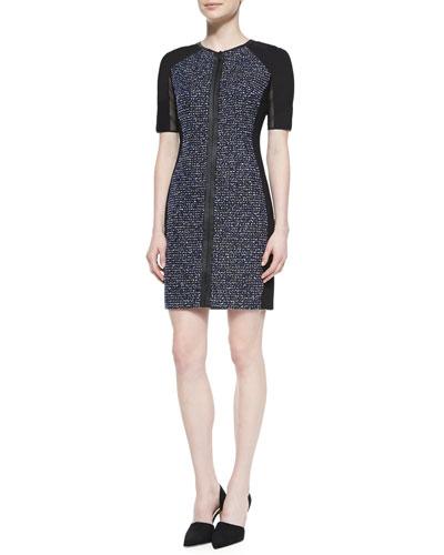 Elie Tahari Mila Tweed Zip-Front Dress with Mesh Sleeves